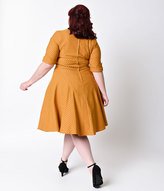Unique Vintage Plus Size 1950s Style Mustard & Black Dot Delores Swing Dress