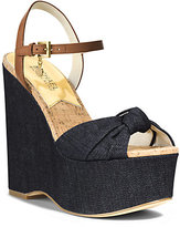Michael Kors Benji Denim And Leather Wedge Sandal