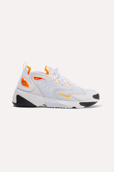 Nike Zoom 2k Neon-trimmed Leather And Mesh Sneakers - White