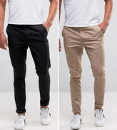 Asos 2 Pack Skinny Chinos In Black & Stone SAVE