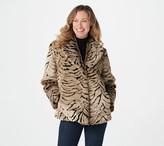 Dennis Basso Zebra Printed Faux Fur Jacket with Shawl Collar