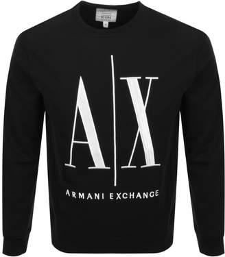 Armani Exchange Crew Neck Logo Sweatshirt Black