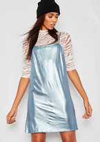Missy Empire Zera Blue Metallic Slip Dress