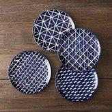 Crate & Barrel Indigo Blue Batik Plates Set of Four