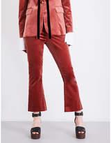 Frame Le Velvet cropped flared velvet trousers