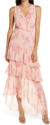 WAYF The Giada Tiered Ruffle Chiffon Gown