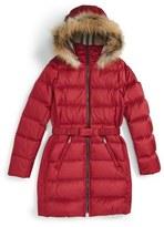 Burberry 'Catherine' Genuine Golden Fox Fur Trim Goose Down Puffer Jacket (Little Girls & Big Girls)
