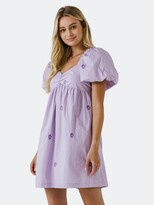 Thumbnail for your product : ENGLISH FACTORY Floral Embroidery Babydoll Dress