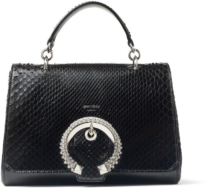 Jimmy Choo MADELINE TOP HANDLE Black Shiny Python Top Handle Bag with Crystal Buckle