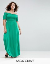 Asos Off Shoulder Maxi Sundress With Shirring