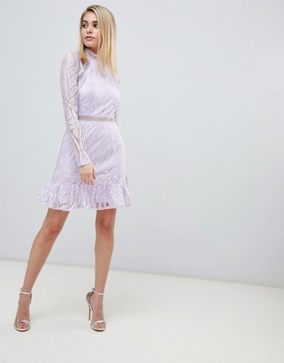 Love Triangle contrast lace skater dress with cut out back in lilac