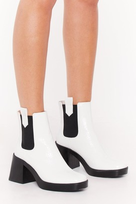 Nasty Gal Womens Square the Gossip Croc Faux Leather Boots - White