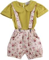SAYOO 2pcs Girls Summer Outfits Round Collar T-shirt+Floral Shorts Suspenders Pants Set