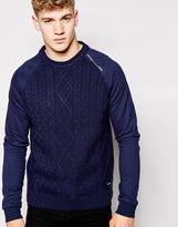 Firetrap Cable Knit Jumper - Navy