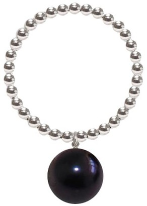 Ring Black Silver Orb Pearl