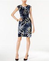 Connected Petite Floral-Print Faux-Wrap Dress