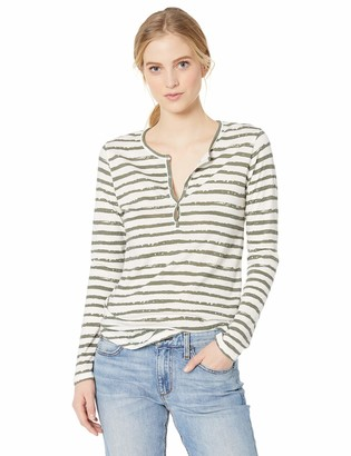 Majestic Filatures Women's Striped Long Sleeve Henley
