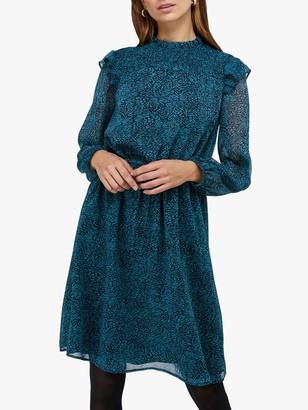 Monsoon Annabelle Shirred Animal Print Dress, Teal