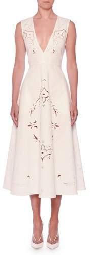 Stella McCartney V-Neck Sleeveless Embroidered Anglaise A-Line Midi Dress