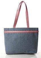 Escada Light Blue Pink Double Leather Strap Woven Trim Tote Shoulder Handbag