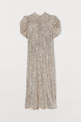 H&M Puff-sleeved Sequined Dress