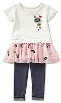 Flapdoodles Little Girls 2T-6X Patch Applique Drop Waist Dress & Denim Leggings Set