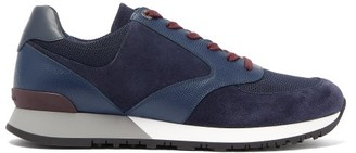 John Lobb Foundry Leather And Suede Trainers - Mens - Navy