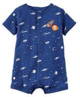 Carter's Boy's Short Sleeve Space Print Romper in Blue