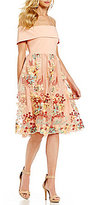 Gianni Bini Laura Off the Shoulder Floral Mesh Dress