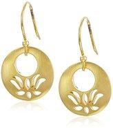 Satya Jewelry Gold Open Lotus Drop Earrings