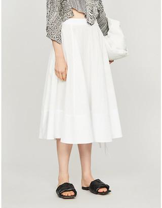 Loewe Gathered high-waist cotton midi skirt