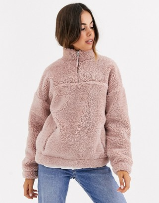 New Look borg fleece jacket in pink