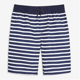 Joe Fresh Kid Boys' Stripe Swim Shorts, Navy (Size L)
