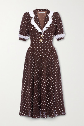 Alessandra Rich Ruffled Polka-dot Silk Midi Dress - Brown