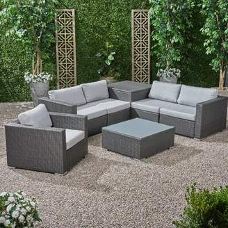 Roxann Outdoor 5 Seater Wicker Sectional Sofa Set with Storage Ottoman and Sunbrella Cushions Brayden Studio Frame Color / Cushion Color: Gray Frame /