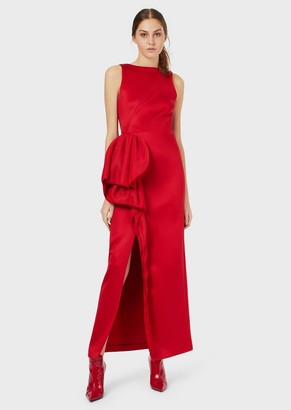 Emporio Armani Long Dress With Oversized Applied Ruching