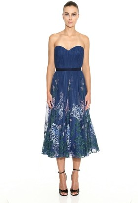 Marchesa Notte Strapless Embroidered Tulle Midi Dress