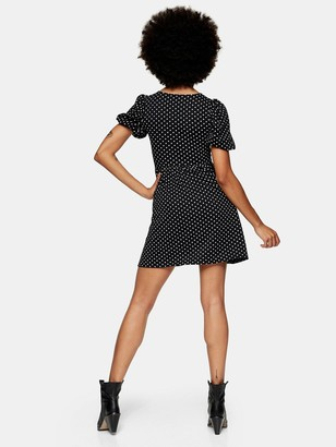Topshop Spot Babydoll Dress - Black