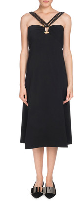 Proenza Schouler Sleeveless Halter A-Line Crepe Midi Dress