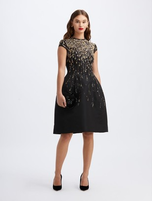 Oscar de la Renta Firework-Embroidered Cocktail Dress