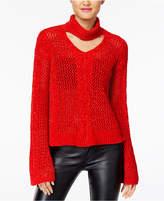 XOXO Juniors' Metallic Bell-Sleeve Choker Sweater