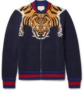 Gucci Tiger-Intarsia Wool Zip-Up Cardigan