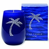 Primal Elements 13 oz Blue Glass Icon Candle Palm Tree