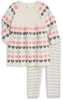 Nordstrom Infant Girl's Heart Dress & Stripe Leggings Set