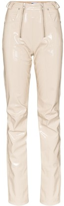 GmbH zip detailed straight leg trousers