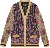 Gucci Patchwork shiny jacquard reversible cardigan