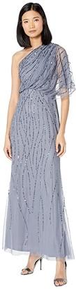 Adrianna Papell Beaded One Shoulder Blouson Dress (Dusty Blue) Women's Dress