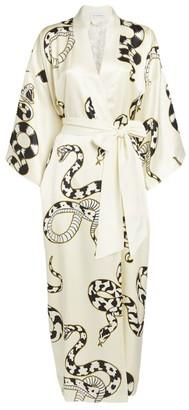 Olivia von Halle Queenie Snake Print Silk Kimono