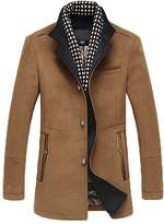 NiSeng Men Buttoned Top Coat Slim Fit Wool Blend Jacket Outwear