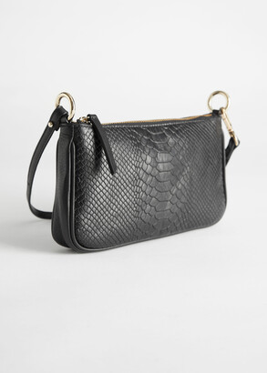 And other stories Croc Leather Mini Shoulder Bag